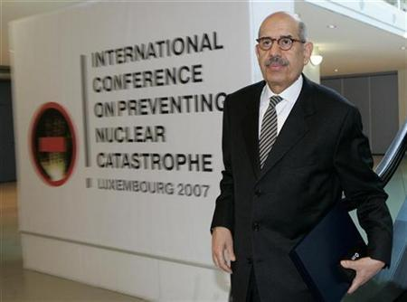 International Atomic Energy Agency (IAEA) Director General Mohamed El Baradei arrives at the International Conference on Preventing Nuclear Catastrophe in Luxembourg May 24, 2007. REUTERS/Thierry Roge