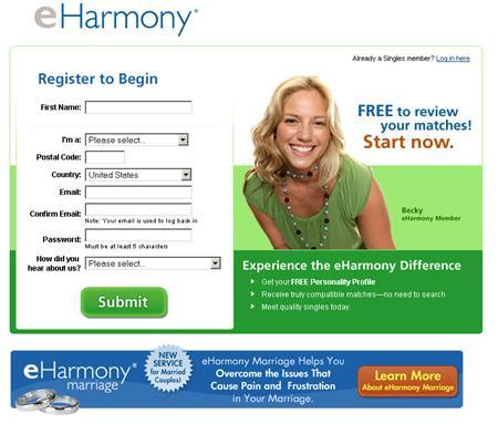 A screenshot of eHarmony.com, taken on May 31, 2007. The popular online dating service eHarmony was sued on Thursday for refusing to offer its services to gays, lesbians and bisexuals. REUTERS/www.eharmony.com