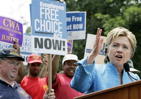 Sen. Hillary Clinton speaks at a union workers rally on Capitol Hill in Washington, June 19, 2007. REUTERS/Larry Downing