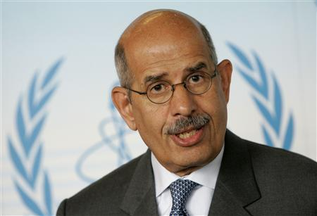 International Atomic Energy Agency (IAEA) Director General Mohamed ElBaradei reacts as he briefs the media during a board of governors meeting in Vienna, July 9, 2007. REUTERS/Herwig Prammer