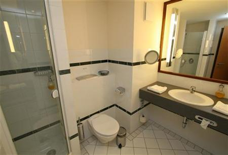 The interior of a bathroom is seen at the  Semiramis Seehotel  in Potsdam. Great bathroom singer  TV wants you   Reuters