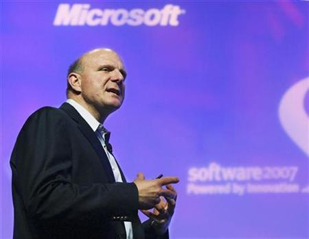 Microsoft CEO Steve Ballmer at the Software 2007 conference in Santa Clara, May 9, 2007. Microsoft said on Sunday the software maker was taking new steps to protect consumer privacy in the areas of Web search and online advertising and called on the Internet industry to support it. REUTERS/Lou Dematteis/Handout