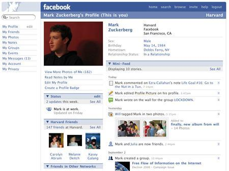 A Facebook profile is seen in an undated publicity image. After years of socializing, Facebook and MySpace mean business. The sites, which started as a way to help people stay connected with friends, in the past year have begun catering to professionals, offering networking and advertising opportunities. REUTERS/Handout