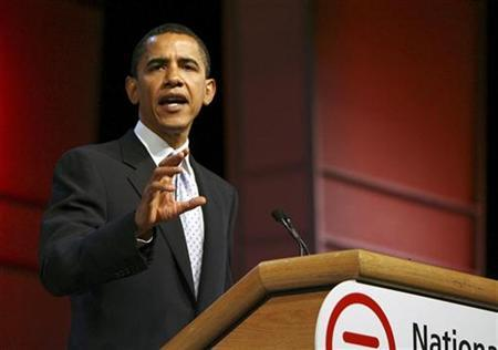 Democratic presidential candidate U.S. Senator Barack Obama (D-IL) speaks about The National Urban League's ''Opportunity Compact'' during their annual conference in St Louis July 27, 2007. Republican presidential candidate Mitt Romney criticized Obama on Friday for vowing to strike al Qaeda targets inside Pakistan if necessary as the Obama camp issued a strident defense of his plan. REUTERS/Peter Newcomb