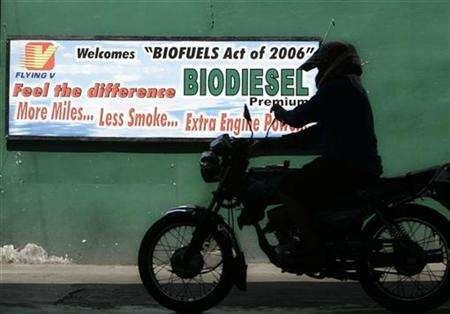 A motorist rides past a biodiesel billboard at a gasoline station in Quezon city, central Manila, May 6, 2007. Biofuels, championed for reducing energy reliance, boosting farm revenues and helping fight climate change, may in fact hurt the environment and push up food prices, a study suggested on Tuesday. REUTERS/Cheryl Ravelo