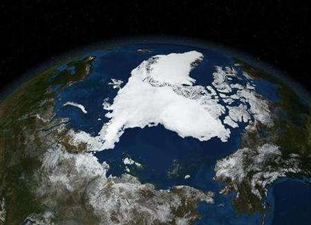 A NASA satellite image from September 16, 2007 and released on September 21, 2007, shows Arctic summer sea ice. Nordic nations sounded the alarm on Wednesday about a quickening melt of Arctic ice and said the thaw might soon prove irreversible because of global warming. REUTERS/NASA/Handout
