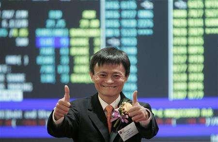 Jack Ma, chairman and founder of Alibaba.com, gives the thumbs-up at the Hong Kong stock exchange November 6, 2007. Shares in Alibaba.com nearly tripled on their trading debut on Tuesday, beating all expectations, after China's largest e-commerce firm raised $1.49 billion in Hong Kong's most popular initial public offering. REUTERS/Herbert Tsang