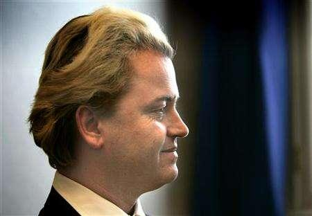 41 year-old Dutch right wing politician Wilders speaks during an interview with Reuters Television inside Dutch Parliament in The Hague. Wilders says he is making a film for television about the Koran, despite warnings from the Dutch government about making such a film. REUTERS/Jerry Lampen