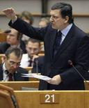 <p>Il presidente della Commissione europea Josè Manuel Barroso presenta le proposte dell'esecutivo in tema di cambiamento climatico all'Europarlamento oggi. REUTERS/Francois Lenoir (BELGIUM)</p>