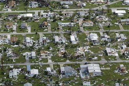 A mobile home park, devastated by Hurricane Charley in Punta Gorda, Florida, is shown in this August 14, 2007 file photo. REUTERS/Pierre Ducharme