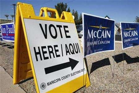 The polling location is seen in Phoenix, Arizona, February 5, 2008. REUTERS/Shaun Best