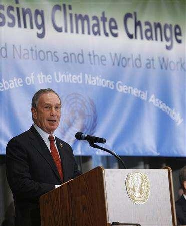 New York City Mayor Michael Bloomberg addresses the U.N. General Assembly during a debate about climate change at the U.N. Headquarters in New York February 11, 2008. REUTERS/Chip East
