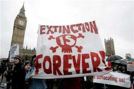 Protesters carry banners past Big Ben during a demonstration against climate change in central London December 8, 2007. REUTERS/Alessia Pierdomenico