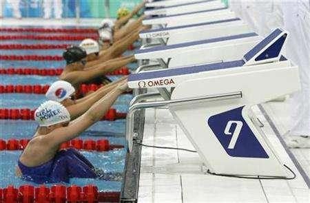 Swim chiefs rule against new starting block for beijing reuters - Olympic swimming starting blocks ...