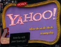 <p>Un'insegna Yahoo al Time Square di New York, il 7 aprile 2008. REUTERS/Joshua Lott</p>