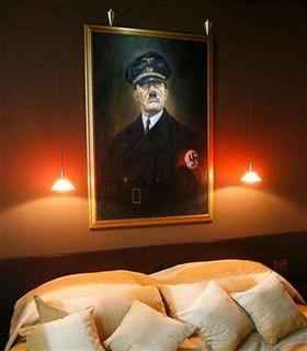 A painting of Adolf Hitler is seen in one of the rooms in Belgrade's Mr. President Hotel, January 24, 2008. REUTERS/Ivan Milutinovic