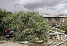 <p>Un'immagine della devastazione di cicloni e tempeste degli ultimi giorni. Nella foto, un albero sdradicato a Windsor, in Colorado. REUTERS/Bret Hartman</p>