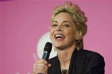 U.S. actress Sharon Stone delivers a speech during the annual forum of the cultural, economic, scientists and politics debates at the Sorbonne University in Paris April 6, 2008. REUTERS/Gonzalo Fuentes