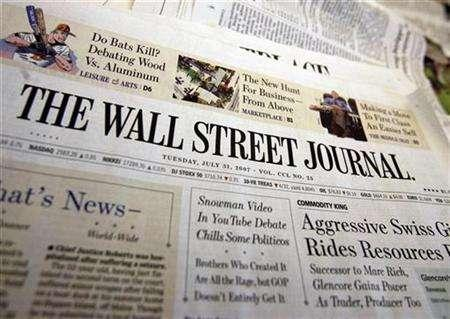 A copy of the Wall Street Journal is seen at an office in New York, July 31, 2007. One of The Wall Street Journal's top editors is resigning several weeks after parent company News Corp and its chief Rupert Murdoch named one of Murdoch's longtime associates to run the paper. REUTERS/Shannon Stapleton