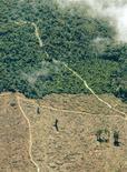 <p>Una fotografia aerea della foresta Amazzonica nella quale si possono notare un'area deforestizzata e una ancora intatta. REUTERS/Rickey Rogers RR/DY</p>