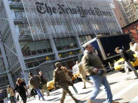 The headquarters of the New York Times is pictured on 8th Avenue in New York April 30, 2008. REUTERS/Gary Hershorn