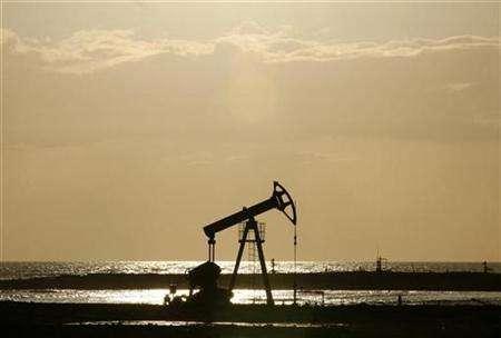 An oil pump is seen on the shore near Santa Cruz del Norte, Cuba June 5, 2008. REUTERS/Claudia Daut