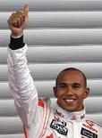 <p>Il pilota britannico di Formula 1 Lewis Hamilton, Mc Laren. REUTERS/Yves Herman (Belgio)</p>