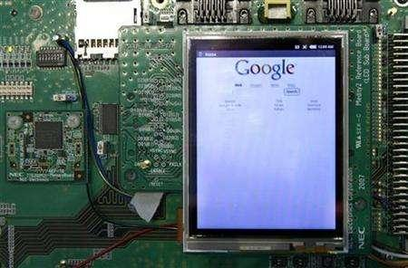 A prototype of the Google Android mobile by NEC is on display at the Mobile World Congress (formerly 3GSM World Congress) in Barcelona, February 11, 2008. REUTERS/Albert Gea