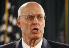 <p>Il segretario del Tesoro Usa Henry Paulson in una foto d'archivio. REUTERS/Jason Reed (UNITED STATES)</p>