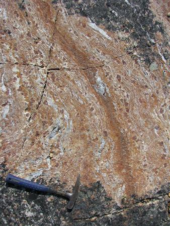This image shows a portion of the oldest-known rocks on Earth, dating from 4.28 billion years ago and found on the eastern shore of Canada's Hudson Bay. The rocks may represent remnants of Earth's primordial crust -- the first that formed on the planet's surface as it cooled following the birth of the solar system, according to Jonathan O'Neil of McGill University in Montreal. REUTERS/Science/AAAS/Handout