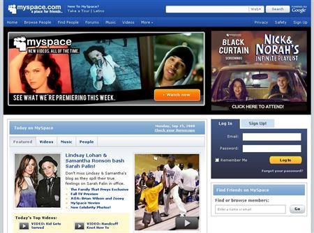A screen grab of MySpace.com. REUTERS/www.myspace.com