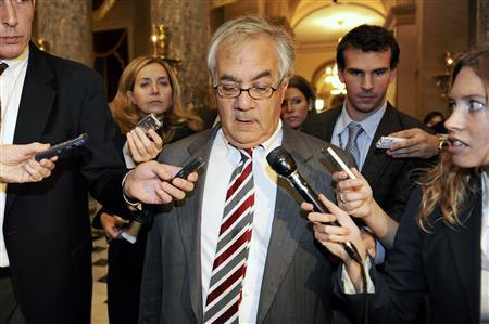 Rep. Barney Frank (D-MA) (C) talks with reporters about the failure of a bill to provide a bailout for the current financial and banking crisis, at the US Capitol in Washington, September 29, 2008. REUTERS/Jonathan Ernst