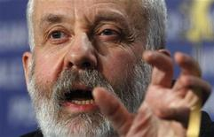 """<p>Director Mike Leigh attends a news conference to present his film """"Happy-Go-Lucky"""" which is running in competition at the 58th Berlinale International Film Festival in Berlin February 12, 2008. REUTERS/Tobias Schwarz</p>"""