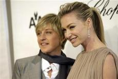 <p>Ellen DeGeneres (L) and Portia de Rossi arrive at the 16th Annual Elton John AIDS Foundation Party to celebrate the Academy Awards, the Oscars, at the Pacific Design Center in West Hollywood, California, February 24, 2008. REUTERS/Danny Moloshok</p>