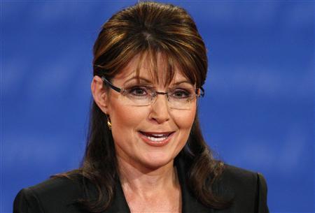 Republican vice presidential nominee Alaska Governor Sarah Palin takes part in the vice presidential debate with Democratic vice presidential nominee Senator Joe Biden (D-DE) at Washington University in St. Louis, Missouri October 2, 2008. REUTERS/Jim Young