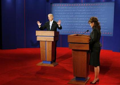 Democratic vice presidential nominee Senator Joe Biden (D-DE) gestures during a response to Republican vice presidential nominee Alaska Governor Sarah Palin during the vice presidential debate at Washington University in St. Louis, Missouri October 2, 2008. REUTERS/Rick Wilking/Pool