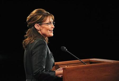 Republican vice presidential nominee Alaska Governor Sarah Palin speaks during the vice presidential debate at Washington University in St. Louis, Missouri October 2, 2008. REUTERS/Don Emmert/Pool