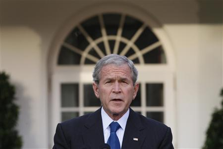 President George W. Bush makes a statement on the economy in the Rose Garden of the White House, following a meeting of his working group on financial markets in Washington October 14, 2008. REUTERS/Jason Reed