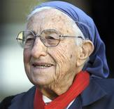 <p>French nun sister Emmanuelle smiles after she was honoured with the 'Commandeur de la legion d'honneur' medal at the Elysee Palace in Paris in this January 28, 2002 file picture. French nun sister Emmanuelle has died, French television said on October 20, 2008. She was 99. REUTERS/Charles Platiau/Files</p>