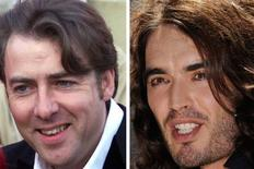 <p>A combination photo shows Jonathan Ross (L) as he arrives at the Business Design Centre to attend the 51st British Academy Film Awards April 11, 1999 and Russell Brand during a news conference previewing the 2008 MTV Video Music Awards in Hollywood September 4, 2008. REUTERS/Kevin Coombs/ Phil McCarten</p>