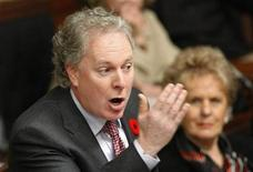 <p>Quebec's Premier Jean Charest gestures as he speaks during question period at the National Assembly in Quebec City, November 4, 2008. REUTERS/Mathieu Belanger</p>