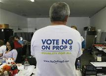 <p>Rich Joludow wears a T-shirt at the No on 8 proposition headquarters in West Hollywood, October 29, 2008. REUTERS/Fred Prouser</p>