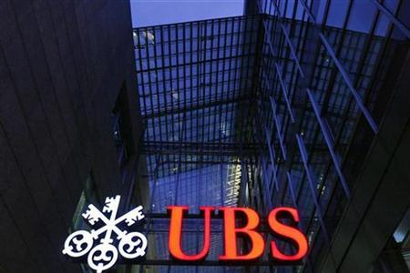 The logo of Swiss bank UBS is pictured on a building in Zug October 17, 2008. REUTERS/Michael Buholzer