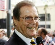 <p>British actor Roger Moore is interviewed after ceremonies unveiling his star on the Hollywood Walk of Fame in Hollywood, California October 11, 2007. REUTERS/Fred Prouser</p>