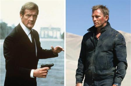 Roger Moore and Daniel Craig portraying James Bond in a combination image. REUTERS/Composite