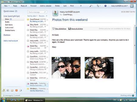 An undated screenshot handout image of Microsoft's Windows Live Mail. REUTERS/Microsoft