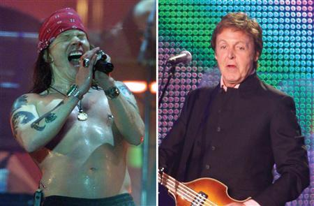 Axl Rose (L) and Paul McCartney in a composite image. McCartney and Guns N' Roses released their biggest hits on vinyl records and compact discs, but on Thursday, their new albums will debut online on MySpace. REUTERS/Combination/Files