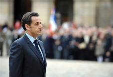 <p>France's President Nicolas Sarkozy attends a ceremony during the Fall military ceremony on November 19, 2008 in Paris. REUTERS/Eric Feferberg/Pool</p>