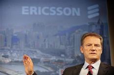 <p>L'AD di Ericsson Carl-Henric Svanberg in una conferenza stampa a Stoccolma. REUTERS/SCANPIX/Jessica Gow</p>