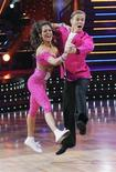 "<p>""Dancing with the Stars"" contestants Brooke Burke and her professional dance partner Derek Hough dance during the program November 24, 2008 in this ABC network publicity photograph. REUTERS/Kelsey McNeal/ABC/Handout</p>"